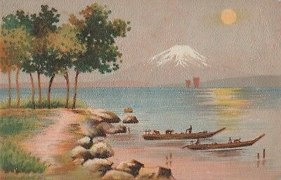 Old Postcard Japanese Mount Fuji Hand coloured