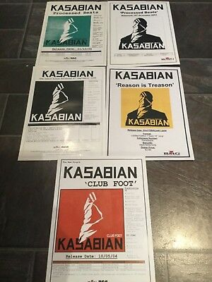 Kasabian 5 x A4 Paper Press Releases Processed Beats Club Foot etc