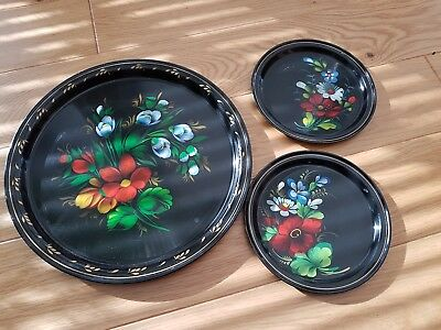 3 vintage Russian serving trays - black lacquered metal, hand painted flowers