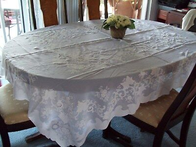 """Sheer Tablecloth ~64"""" x 80"""" ~ White with Floral Design"""