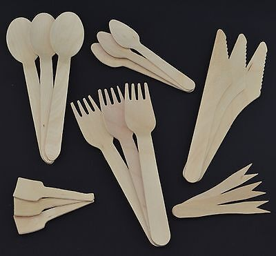 Disposable Wooden Cutlery (Spoons Spades Forks Knives) Eco Friendly Compostable
