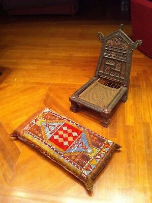 Antique Chair Middle Eastern Oriental Ottoman Handmade + Foot Seat Embroidery