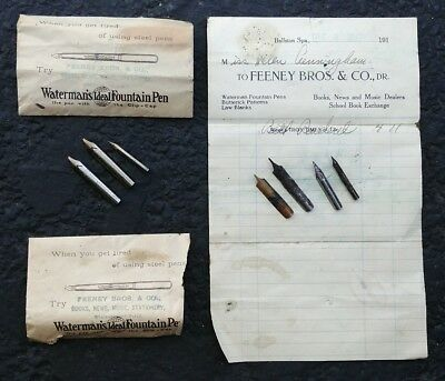 Lot of Waterman's Ideal Fountan Pen Paperwork & More Spare Fountain Pen Tips
