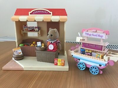 Sylvanian Families J SAINSBURY Shop Market Stall Grocery with VILLAGE SWEET SHOP