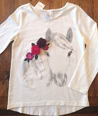 NWT Gymboree Size 5 6 8 Floral Rosette Horse Top PLUM PONY Ivory Glitter Girls