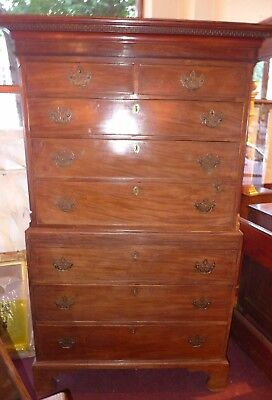 OFFER -  c18/19th  MAHOGANY CHEST ON CHEST - BRASS HANDLES