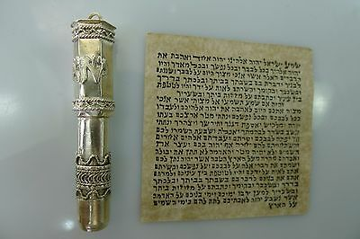Rare Silver Judaica Israel Pendant With A Paper Scroll Inside
