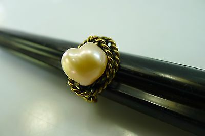 Very Rare Heart Shaped Pearl Brass Size 5.5 Wire Ring