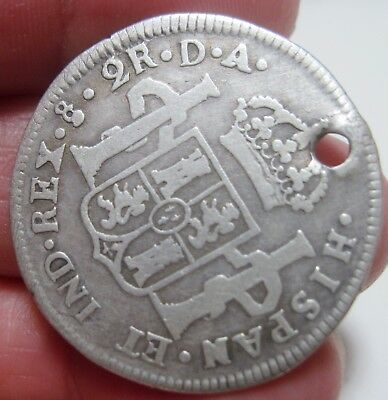 1787 Da (Santiago-Chile) 2 Reales (Silver) ----Very Scarce----- Rare Type----
