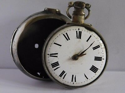 ANTIQUE SOLID SILVER VERGE FUSEE PAIR CASED POCKET WATCH  by SPARKES of LONDON