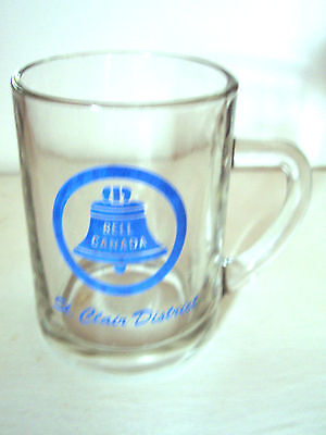 Vintage Clear Glass Advertising Mug - Bell Canada - St. Clair District