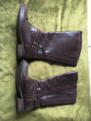 Ladies Brown Leather Boots In Size 6 Wide Calf Fitting
