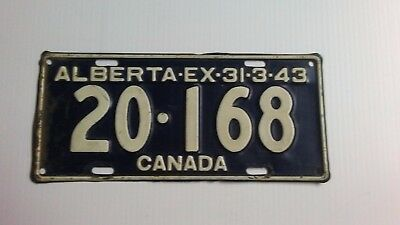 1943 WWII Alberta License Plate RARE Collector