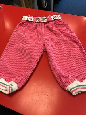 Baby Girls Pink Corduroy Vintage Soft Trousers With Belt 6-12 Months