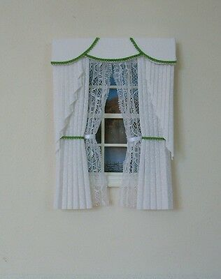 Dollshouse Curtains White & Green  Swag With Tied Nets
