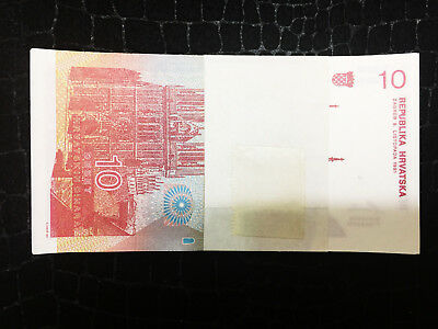 Uncirculated Brand New Set of 100 Authentic Crotia Bills - 10 Dinars