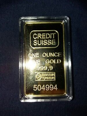24k PLATED 1 OZ Gold bar - 'CREDIT SUISSE one ounce fine gold 999,9 ' laser no.
