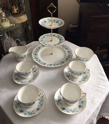 Lovely Vintage Colclough  Bone China Tea Set And Matching 3 Tier Cake Stand