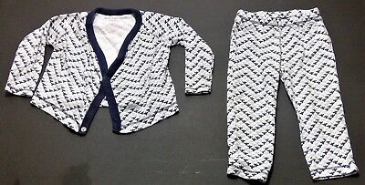 Burts beess baby outfit 6-9 month blue white organic cotton pants shirt baby