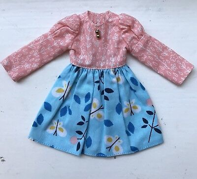 Beautiful Blue & Peach Floral Blythe Dress with Gold Buttons By Plastic Fashion