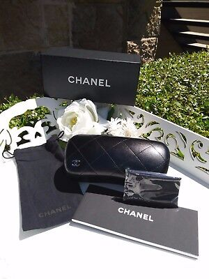 NEW CHANEL Black Quilted Sunglass Case, SET, GENUINE, Case-Pouch-Clng Cloth-Book
