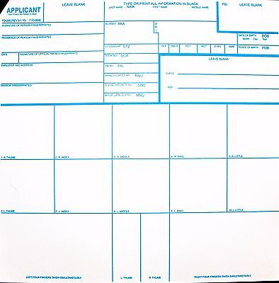 FAST SHIP- Fingerprint Card - Official FBI Form FD258 - Applicants/Background
