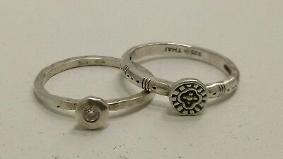 Set of 2 Stacking Sterling Silver SILPADA Hammered Rings Bands Size 7 Crystal