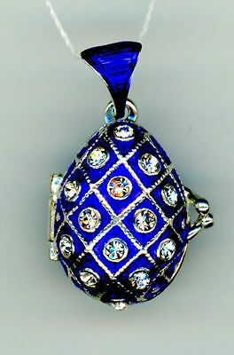 Russian Silver egg Pendant, netted with gems blue : 15-001-10304, .925 Sterling