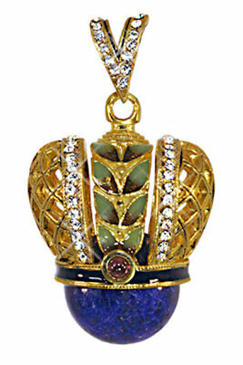Russian Silver egg Pendant, Crown with green-blue gem 13-032-05, .925 Sterling