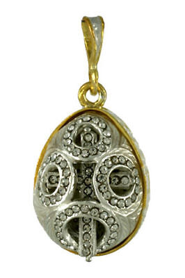 Russian Silver egg Pendant, Circles of gems pendant 13-014-101, .925 Sterling