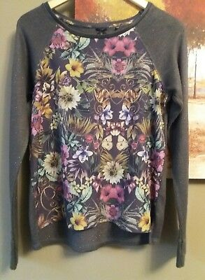 Girls Next Khaki Knitted Look Top With Floral Front Age 14 Yrs Excellent Cond