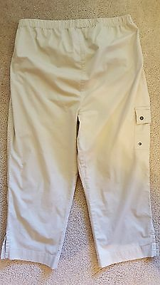 Baby and Me Maternity Khaki Elastic Waist Lightweight Capris Pants Large L