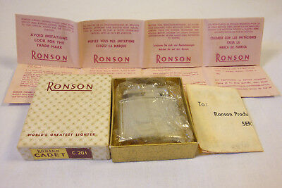 Vintage Ronson Cadet Cigarette Lighter C201 Unsused Boxed with Instructions