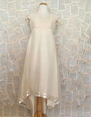 Vintage Wedding Bridal Gown Dress Hi Lo High Low Lace Ivory Off White lace tulle
