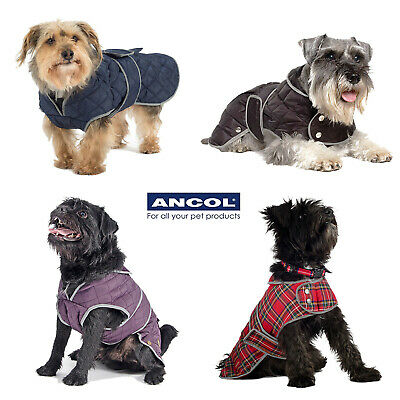 Ancol Muddy Paws Warm Fleece Quilt Quilted Dog Coat Red Highland Tartan Puppy