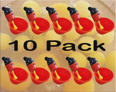 10 Pack Poultry Water Drinking Cups- Chicken Hen Plastic Automatic Drinker