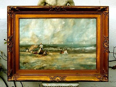 Beautiful Early C20th Post Impressionist Oil on Board - At the Beach