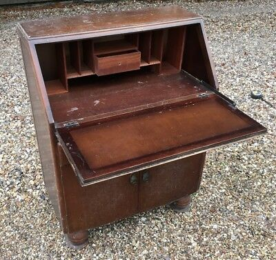 Vintage Solid Wood Writing Bureau With Drawers & Cupboard