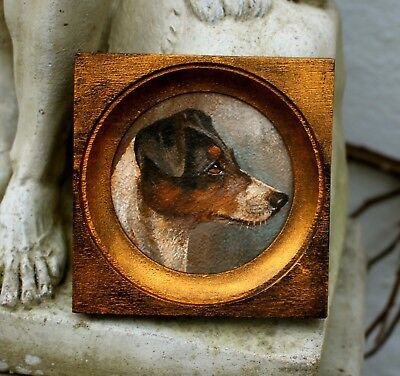 Excellent Early C20th English School Oil Miniature Portrait of a Fox Terrier