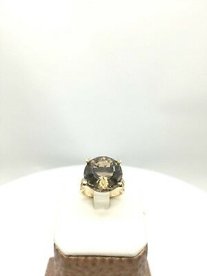 10Ct Brown Topaz Ring 14K Yellow Gold
