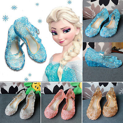 Frozen Princess Elsa Cosplay Dress Up Party Sandals Crystal Shoes For Kids Girls
