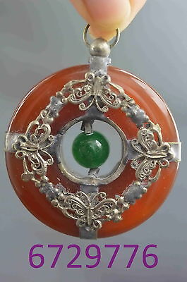 china collection miao silver carve butterfly inlay jade lucky auspicious pendant