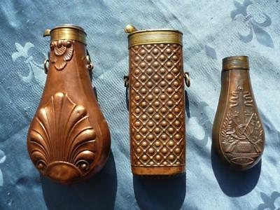 Antique POWDER FLASK - lot of 3 French flasks for parts or repair - lot 1