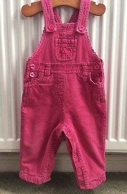 JOHN LEWIS Girl, Pink Lined Dungarees ~ Age 9-12 Months ~ Great Condition
