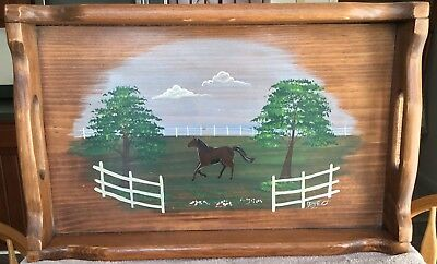"Charming Solid Wood Handpainted Tray With Handles ""Horse Frolicking in Pasture"""