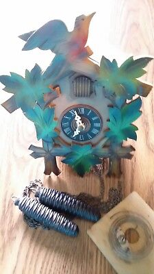 Vintage West Germany Green Leaves Cuckoo Clock Black Forest Styling VG 805~LR