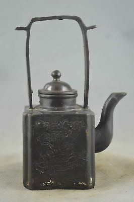 Chinese Ancient Collectable Copper Carve Poet Enjoy Life & Scenery Noble Tea Pot