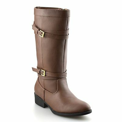 Girls Kids Womens Zip Up Winter Casual Biker Mid Calf Block Heel Boots Shoe Size