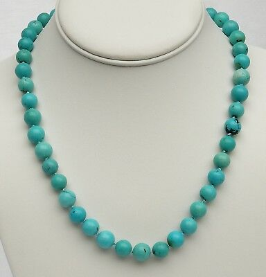 """Vintage Chinese Natural Turquoise Hand Knotted Bead 18"""" Necklace 46 grams"""