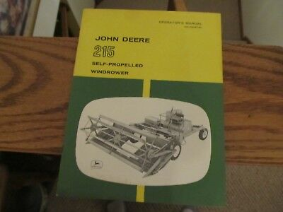 John Deere 215 Self Propelled Windrower Operator's Manual OM-H90878H